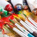 Акриловые краски,лак, кисти для картин по номерам, чистые холсты-1